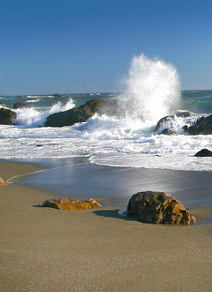 Ocean splash in Bodega Bay